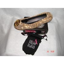 Geniales Zapatos Flat Color Oro Serp Con Hebilla De Libelula
