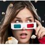 Lente Carton 3d Cyan Y Rojo Gafas Anteojos Solo Blancos