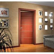 Puerta Placa De Interior Económica Cedro C/insertos Aluminio