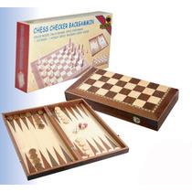 Ajedrez Backgammon Caja De Madera Lustrada