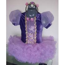 Vestido Disfraz De Rapunzel Enredados Tutú Con Diadema Hwo