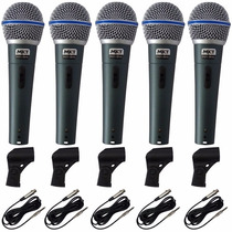 Kit 5 Microfone Btm58 Profissionais 5 Cabo 5 Cachimbo 5 Case