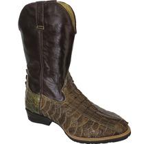 Bota Cowboy Masculina Exótica Texana Jacaré Rabo Com Escama