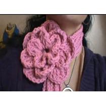 Bufanda Con Flor Crochet