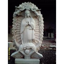 Virgen De Guadalupe En Cantera Natural. Altura 80 Cm.