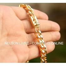 Conj Corrente 75cm + Pulseira Banhadas A Ouro - Fecho Gaveta