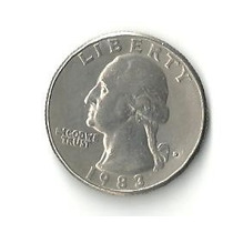 Moeda Antiga Eua, Quarter Dollar (25 Cents), Ano 1983