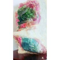 Pedra Turmalina Melancia Rosa/verde 8cm Base Madeira Cod1302