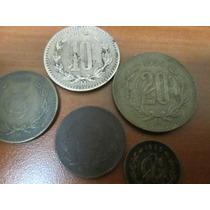 5 Monedas De 1, 2, 5, 10 Y 20 Centavos Monogramas De Cobre
