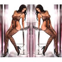 Moda Sexy Body De Red Negro Con Ligueros Medias Bodystocking