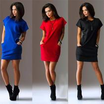 Vestido Feminino Moda Mini Preto/ Vermelho Viscolycra Bolsos