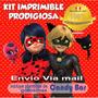 Kit Imprimilble Prodigiosa Ladybug Tarjetas Inv. Cumpleaños