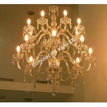 Gran Araña Lampara 16 Luces Vidrio Y Cristal Caireles Nueva