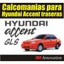 Kit Calcomanias Stickers Traseras Hyundai Accent
