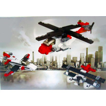Figura Bloque Armable 3 En 1 Helicoptero Avion Jet