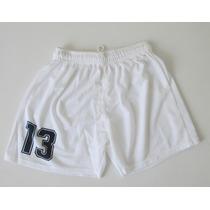 Short Futbol Y Camiseta Con Números Blanco Y Azul Marino