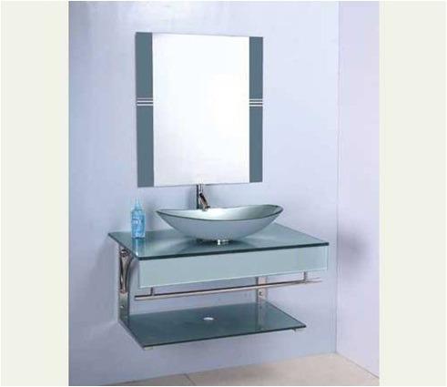 Mueble en vidrio para el ba o c bacha valv y espejo for Muebles bano montevideo