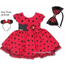 Vestido Infantil Festa Minnie Joaninha Vermelho E Tiara