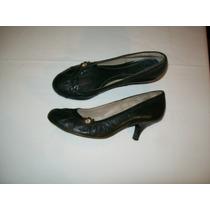 Zapatos De Taco Color Verde Oscuro Zara T 37