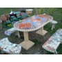 Juego De Jardin Mesa Y Bancos De Cemento- Deco Jardin Lujan