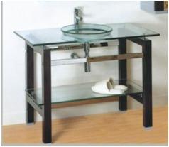 Mueble de ba o con bacha en vidrio u s 300 00 en mercado for Muebles bano montevideo