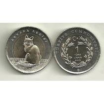 Moneda Turquia Año 2015 Bimetalica 1 Lira Fauna Gato