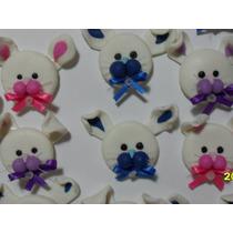 Apliques Miniaturas Conejitos Pascuas En Porcelana Fría X 10