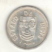India Portuguesa Moneda De 1 Rupia De Plata 1935 Km 22 - Unc