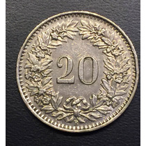 Swi244 Moneda Suiza 20 Rappen 1960 Vf-xf Ayff