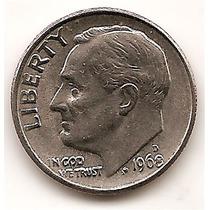 Moneda Estados Unidos De One Dime 10 Centavos Año 1968 D