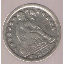Estados Unidos Usa 1 Dime 1853 Flechas Exc