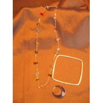 Collar Piedras Semipreciosas, Pulsera Color Plata Y Anillo