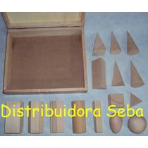 Cuerpos Geométricos Por 15u. Madera De Guindo + Caja Madera