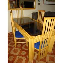Linda Mesa De Sala , Com 4 Cadeiras E Tampo De Vidro Fumê