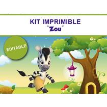 Kit Imprimible Editable Zou Cebra, Candy Bar, Golosina