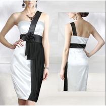 Vestido En Raso Y Crepe Blanco Y Negro!!!!