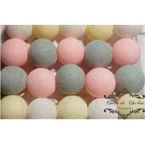 Cordão Luz/ Luminária Bolinha/ Bolinha Cotton Baby Rosa
