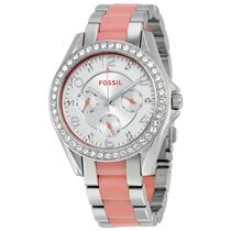 Relógio Feminino Fossil, Aço E Acrílico, Caixa Com Swarovski