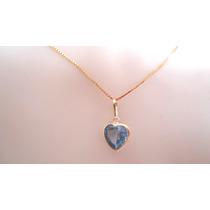 Leilão Imperdível Pingente Coração Pedra Azul Joia Ouro 18k