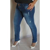 Jeans Elastizados Mujer Rotos Gastados Con Cierres Pantalon