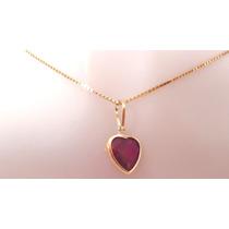 Corrente E Pingente Coração Pedra Vermelho Rubi Ouro 18k-750