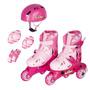 Patins Roller Infantil 3 Rodas N°30 A 33 C/kit Proteção Rosa