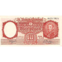 Billete 10 Pesos Moneda Nacional Año 1962 Sin Circular