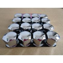 16 Capa Plástica Cromada P/ Parafuso De Roda Sextavado 17mm