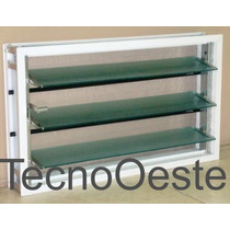 Ventiluz Aluminio Blanco 100x36 Con Vidrio Reja Mosquitero