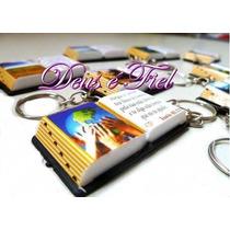 100 Mini Bíblia Lembrancinhas C/ Chaveiro Só Evangélico