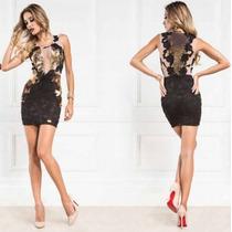Vestido Paete Ouro Com Bordado Flores Maria Gueixa Ref 3052