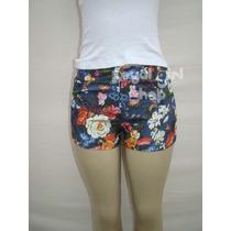 Lindo Micro Mini Shorts Tecido Brim Azul Com Flores