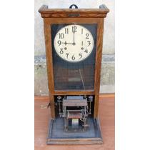 Reloj Antiguo Tarjetero De Roble Con Pendulo Made In Usa
