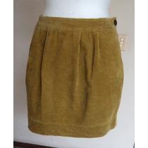 Minifalda De Pana Verde Aceituna Tableada Talla 10!! Fch340